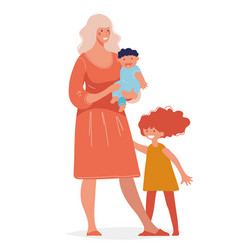 Young beautiful woman with two children concept vector