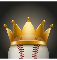 Background of Baseball ball with royal crown vector image vector image