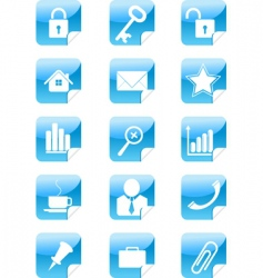blue web icons stickers set vector image