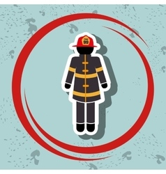 firefighter uniform protection icon vector image vector image