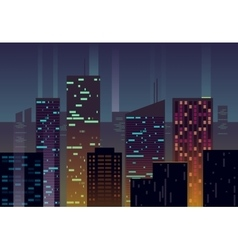 Night city buildings with glowing windows at dusk vector image
