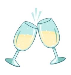 Sparkling champagne glasses vector image
