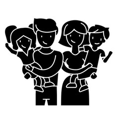 family - happy parents and children keep on hands vector image vector image