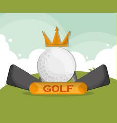 Golf ball crown clubs emblem vector