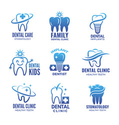 logotypes with of teeth and place vector image vector image