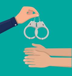 modern metal handcuffs vector image