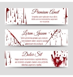 Bloody handprint and scratch banners vector image vector image