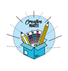 Box with pencils and ideas to creative process vector