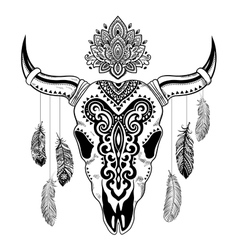 Tribal animal skull with ethnic vector image