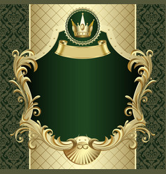 vintage gold banner with a crown on dark green vector image
