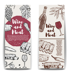 wine and meat banner template grilled steak ribs vector image vector image