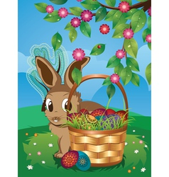 Easter Bunny with Eggs in the Basket3 vector image vector image