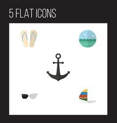 flat icon summer set of beach sandals ocean vector image