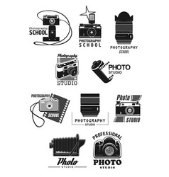photography studio icon set with photo camera vector image vector image