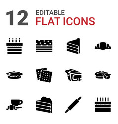 12 pastry icons vector image