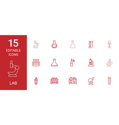15 lab icons vector