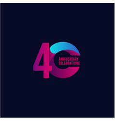 40 years anniversary celebration purple and blue vector