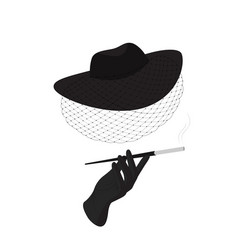 A lady in a hat with a veil and a cigarette vector