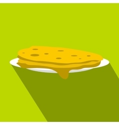 A stack of fried pancakes icon flat style vector