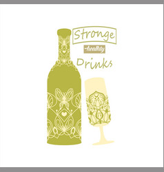 Alcohol bottle and wine glass vector