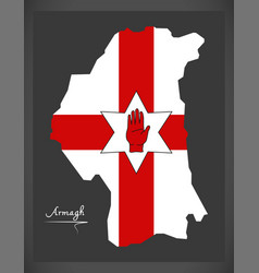 Armagh northern ireland map with ulster banner vector