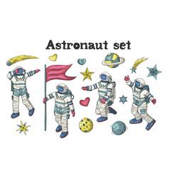 astronaut set vector image