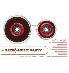 audiocassette retro music party 80s style vector image