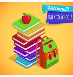 Back to school isometric background with pile of vector image