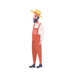 bearded farmer wearing uniform and hat country man vector image