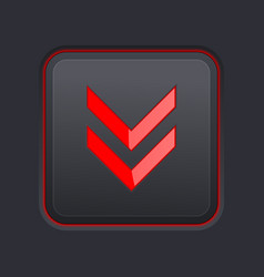 Black square button with red down arrow vector