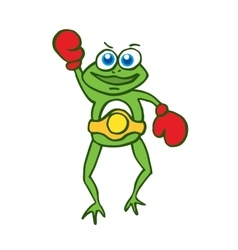 Boxing frog happy cartoon vector