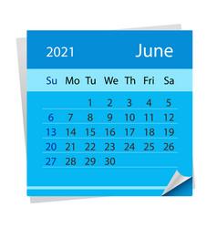 Calendar sheet for month june 2021 vector