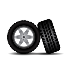 Car tires with wheels and shadow vector