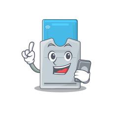 Cartoon design key card speaking on a phone vector