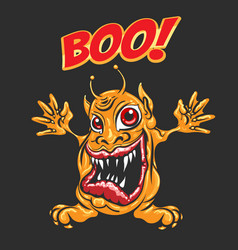 cartoon monster with wording boo vector image