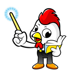 Cartoon rooster character the hand guides is vector