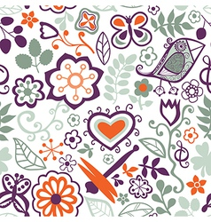 Cartoon seamless texture with flowers dragonfly vector image vector image