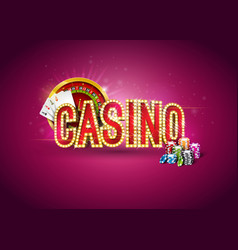 Casino with roulette wheel poker vector