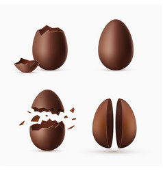 chocolate egg realistic set traditional sweet vector image