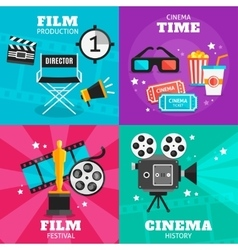 Cinema Colored Icon Set vector image