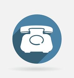 Classic retro phone Circle blue icon vector