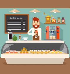 Coffee shop interior seller bakery taste sweets vector