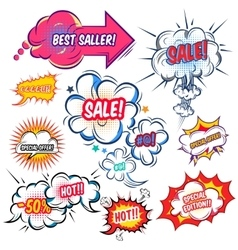 Comic Speech Bubbles With Sale Set vector
