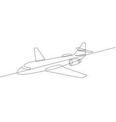 commercial jet airplane continuous line graphic vector image