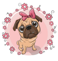 Cute puppy girl with flowers on a pink background vector