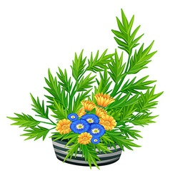 Decorated flowers in the bowl vector image
