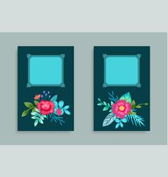 decorative frame design hand drawn pink flowers vector image