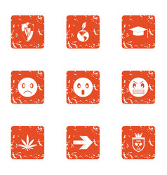 Defensive anger icons set grunge style vector
