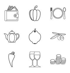 Dietary cafe icons set outline style vector