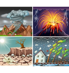 Different scenes with disasters vector image
